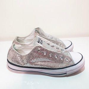 Silver Glitter Converse All Stars |  woman's 9